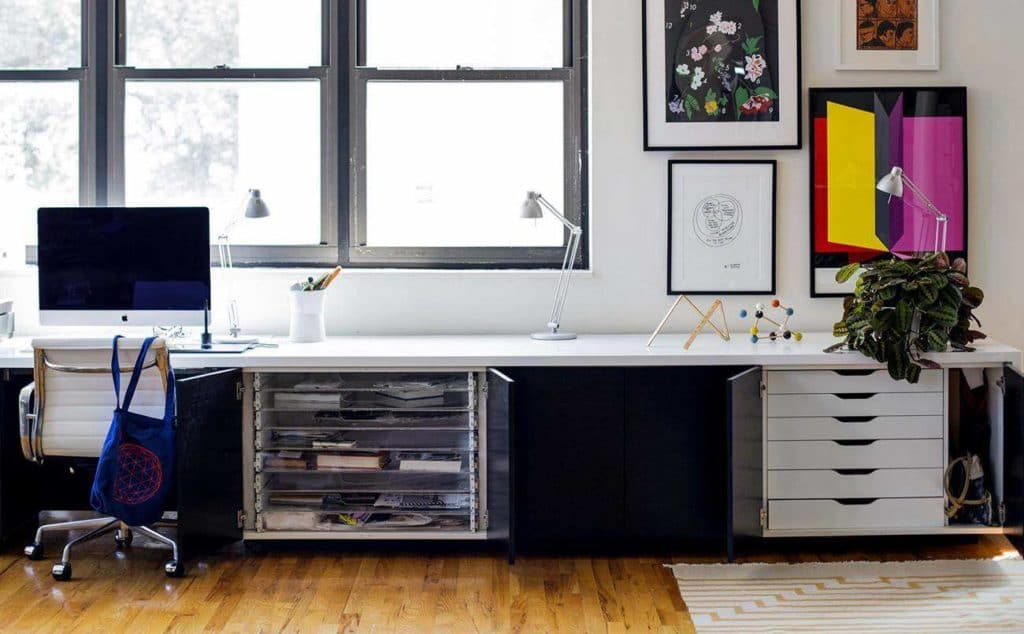 drawers in a stand up desk